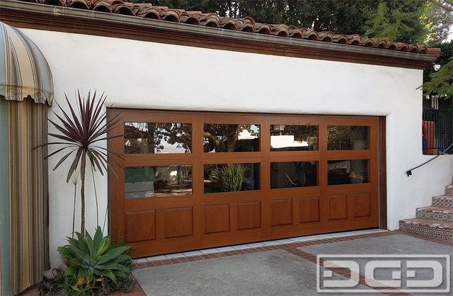 Wood Glass Eclectic Garage Door In Los Angeles Ca A Garage