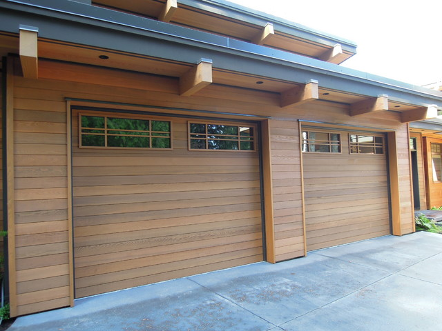 Wood Flush Garage Door Contemporary Garden Shed And Building
