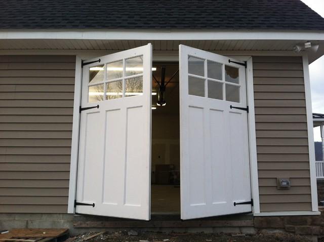Wood garage doors and carriage doors country granny for Dress up your garage door