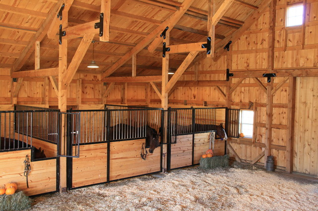 Wood Post Beam Horse Barn In Nebraska Country Garden Shed And