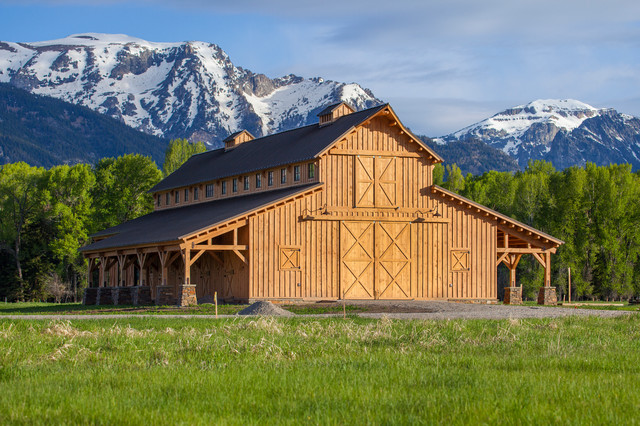 Wyoming horse barn traditional garage and shed other for Post and beam barn plans free