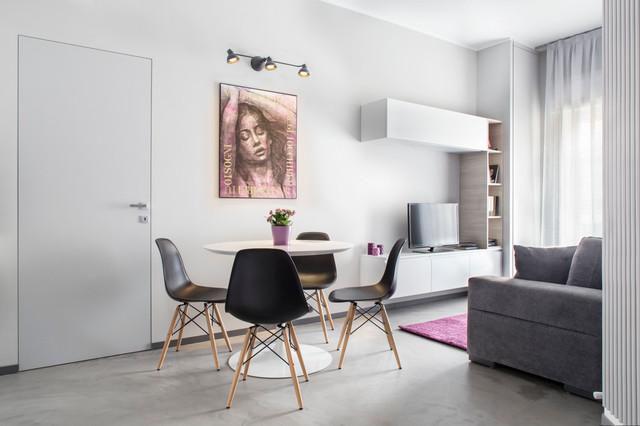 Andrea castrignano minimal underground contemporaneo soggiorno milano di riccardo - Camera da pranzo moderna ...
