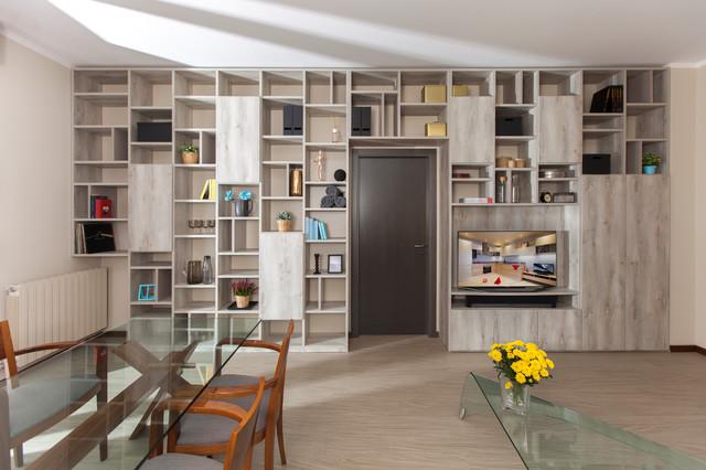 Arredo open space e libreria a ponte contemporaneo soggiorno milano di semprelegno - Libreria divisoria con porta ...