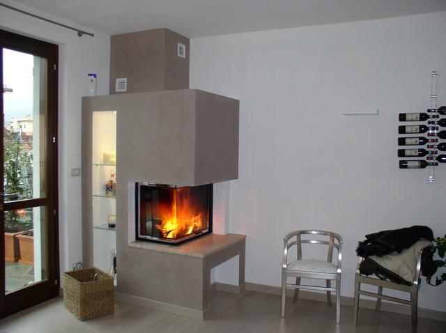 Caminetto ad angolo moderno soggiorno torino di p - Camino nell angolo ...