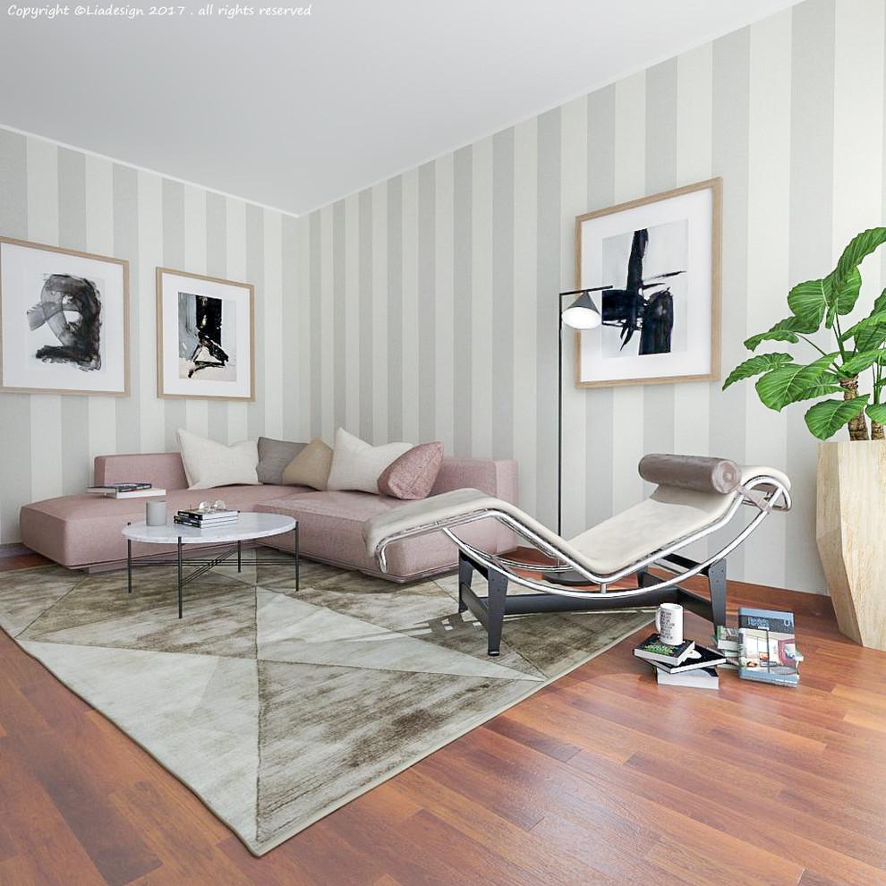 Mid-sized trendy open concept medium tone wood floor and brown floor living room photo in Milan