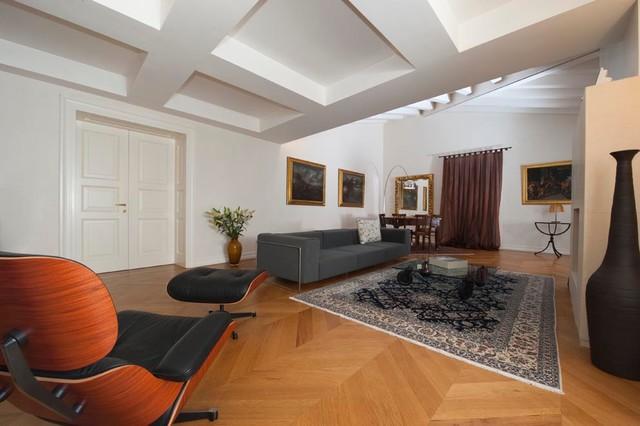Cucina e arredo completo di un attico - Moderno - Soggiorno ...