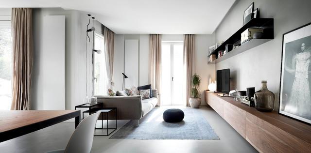 Idee per un soggiorno contemporaneo di medie dimensioni e aperto