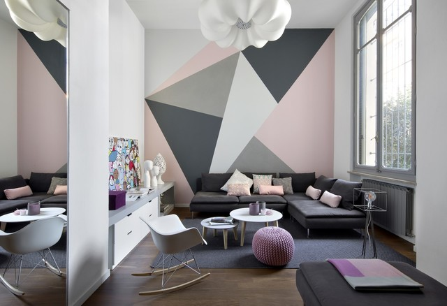 Mid-sized trendy loft-style and formal brown floor and dark wood floor living room photo in Turin with multicolored walls and no fireplace