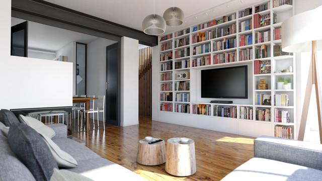 Ristrutturazione villa belluno scandinavo salotto for Libreria salotto