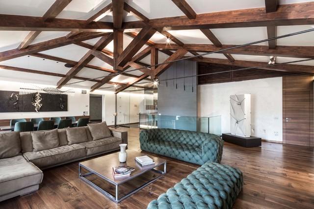 Esempio di un ampio soggiorno minimal aperto con pareti bianche e parquet scuro