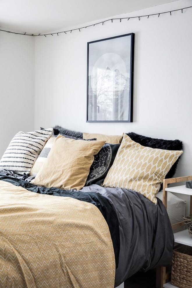 Mid-sized danish bedroom photo in Copenhagen with white walls