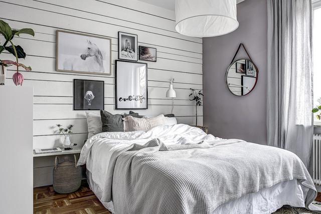 Foton och inredningsidéer för klassiska sovrum, med lila väggar