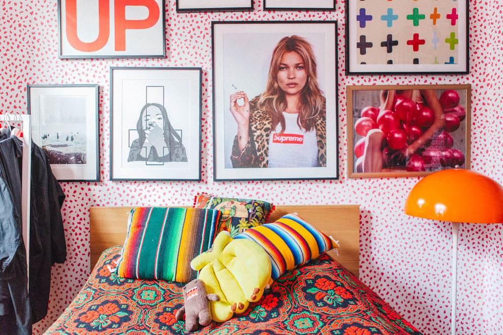 Bedroom - eclectic guest bedroom idea in Stockholm with multicolored walls