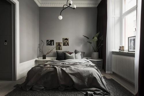 黒・ブラック系の壁紙を使った寝室