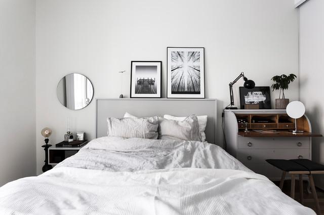 Foto på ett skandinaviskt sovrum