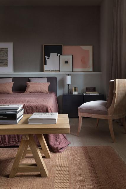 Trendy light wood floor bedroom photo in Moscow with gray walls