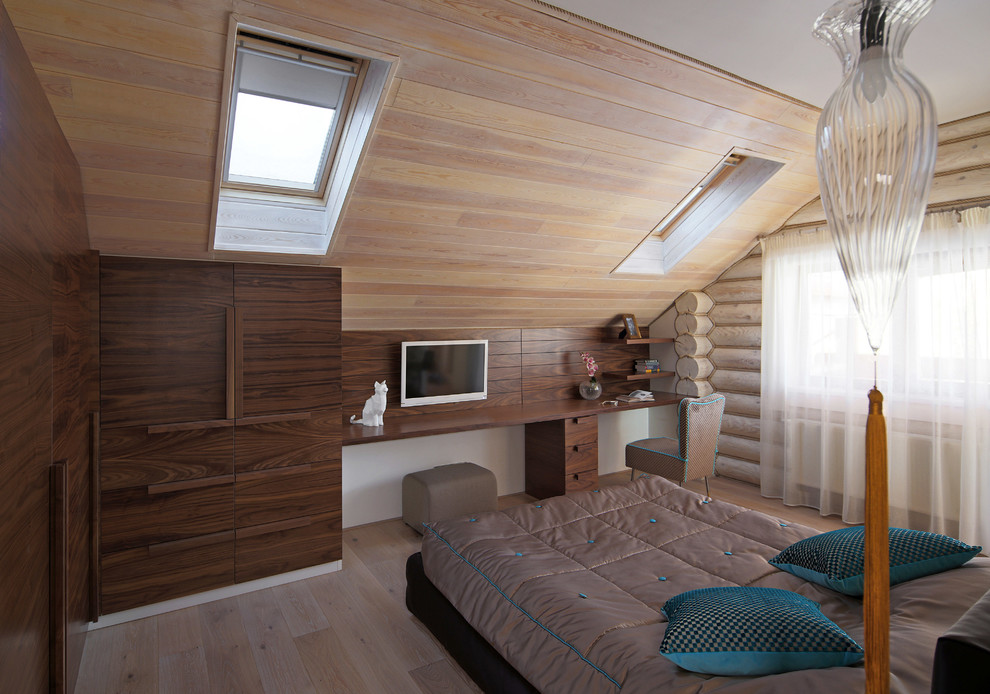 Example of a farmhouse bedroom design in Moscow