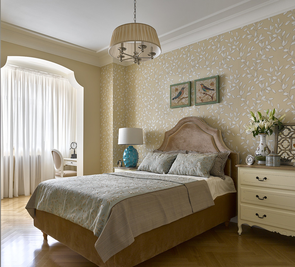 Mid-sized elegant master medium tone wood floor bedroom photo in Moscow with beige walls