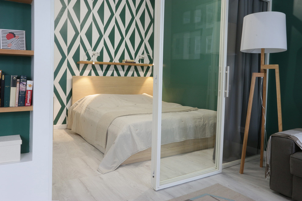Inspiration for a contemporary bedroom remodel in Moscow