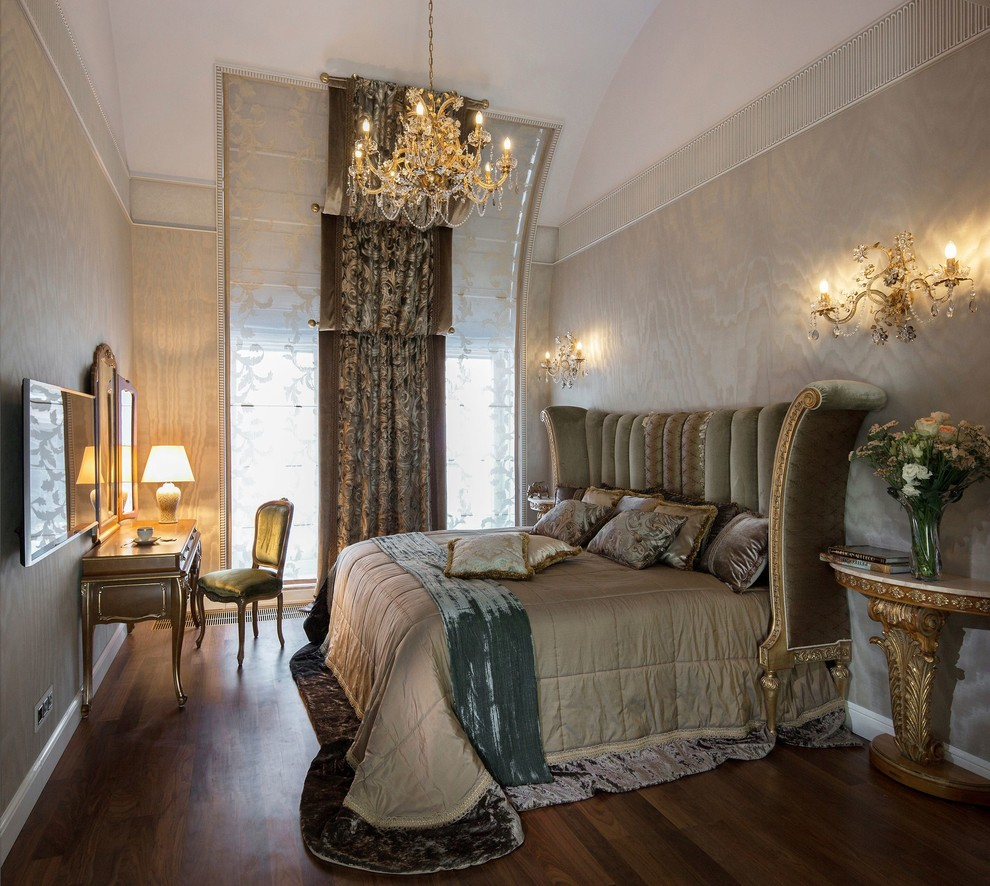 Design ideas for a victorian guest bedroom in Moscow with beige walls and dark hardwood floors.