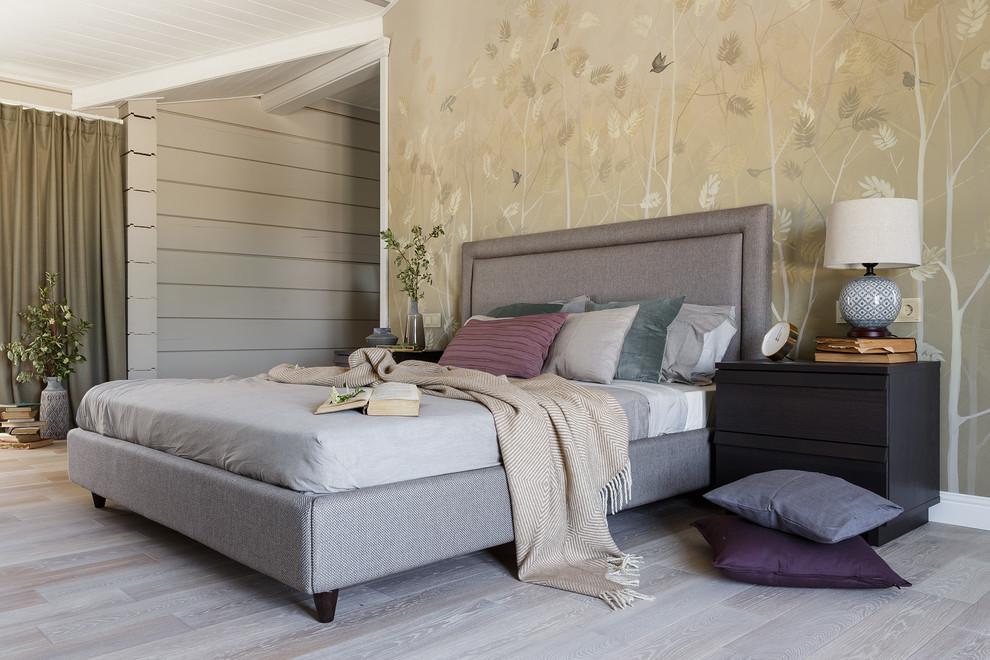 Large trendy master light wood floor and gray floor bedroom photo in Saint Petersburg with beige walls
