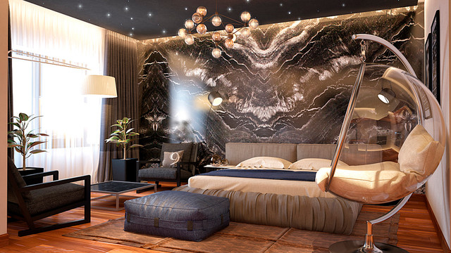 Stone Age In Modern House Contemporary Bedroom