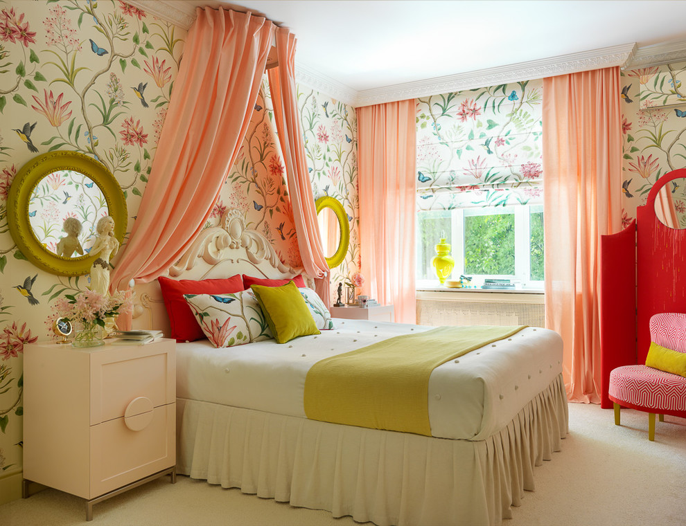 Transitional carpeted and white floor bedroom photo in Moscow with multicolored walls