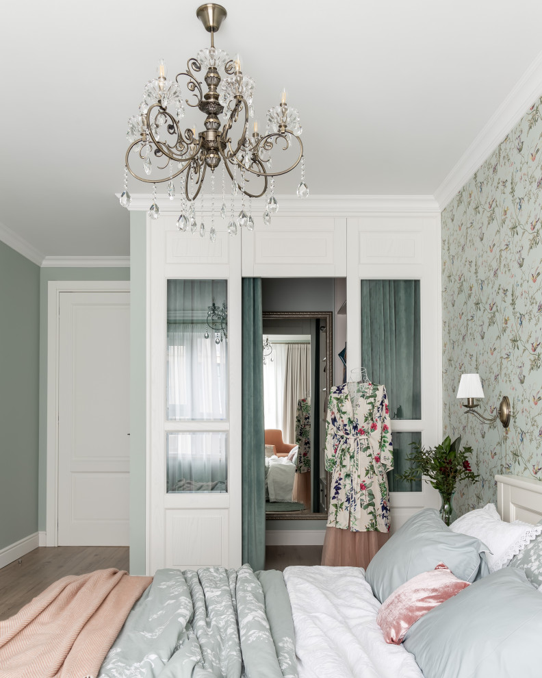 Inspiration for a timeless master bedroom remodel in Saint Petersburg with green walls and no fireplace