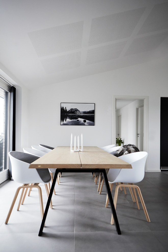 Kitchen/dining room combo - mid-sized scandinavian ceramic tile kitchen/dining room combo idea in Wiltshire with white walls and no fireplace