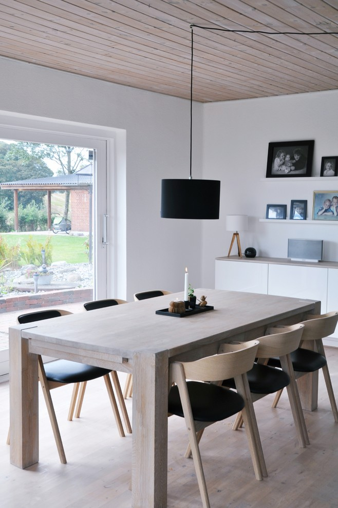 Enclosed dining room - mid-sized scandinavian light wood floor enclosed dining room idea in Other with white walls and no fireplace