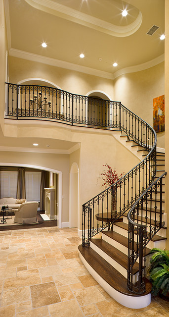 Foyer Stairs Zimbabwe : Charter lake traditional staircase houston