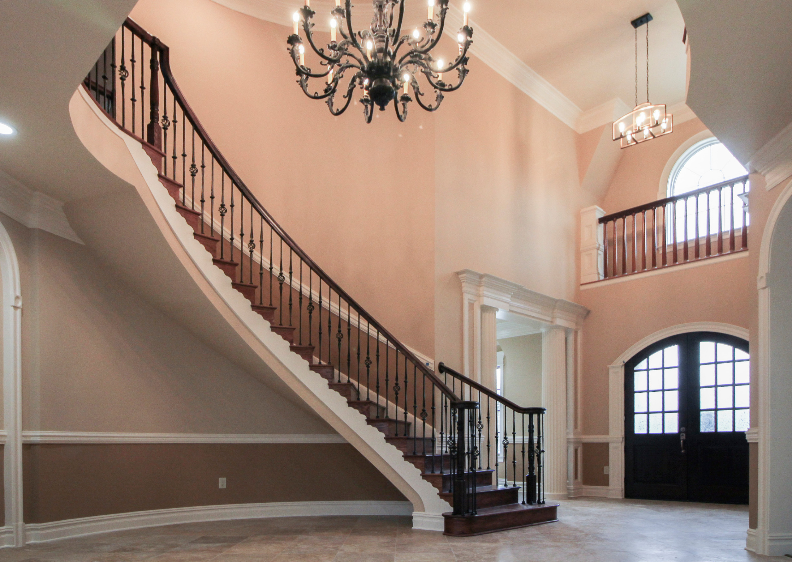13_Curved Custom Wrought Iron Staircase in Elegant Home, Fairfax VA 22032