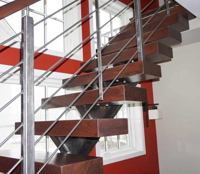 18_Modern Industrial Stairway with Steel Rod Rails, Washington DC 20007