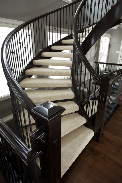 180 Degree Open Rise Stair Traditional Staircase