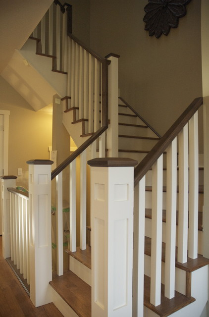 2 tone rail traditional staircase