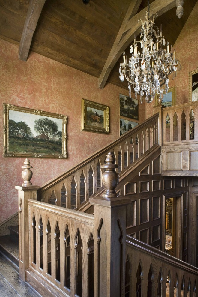 Staircase - traditional wooden staircase idea in Dallas with wooden risers