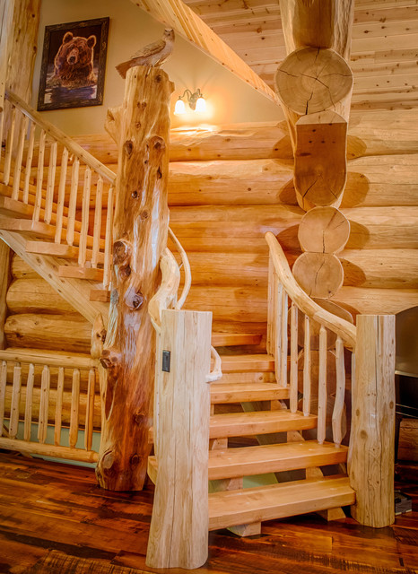 Home rustic staircase denver by mountain log homes amp interiors