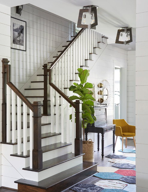 Large Elegant Wooden L Shaped Wood Railing Staircase Photo In Houston