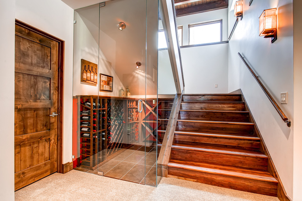 Inspiration for a contemporary wooden u-shaped staircase remodel in Denver with wooden risers