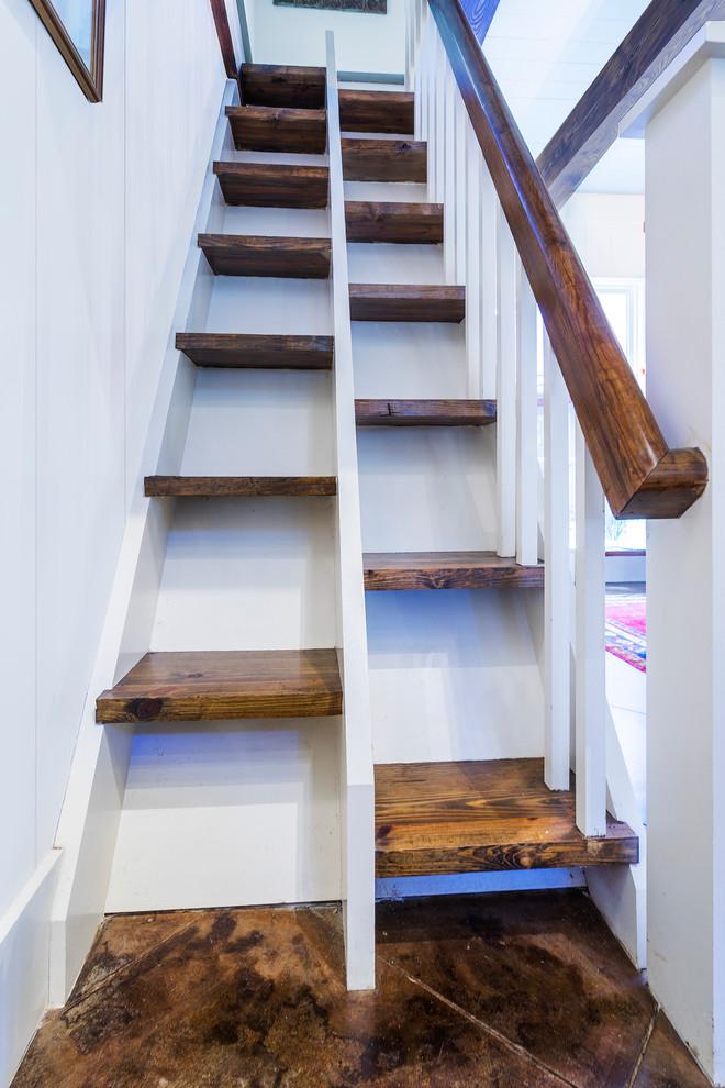 Staircase - farmhouse staircase idea in Atlanta