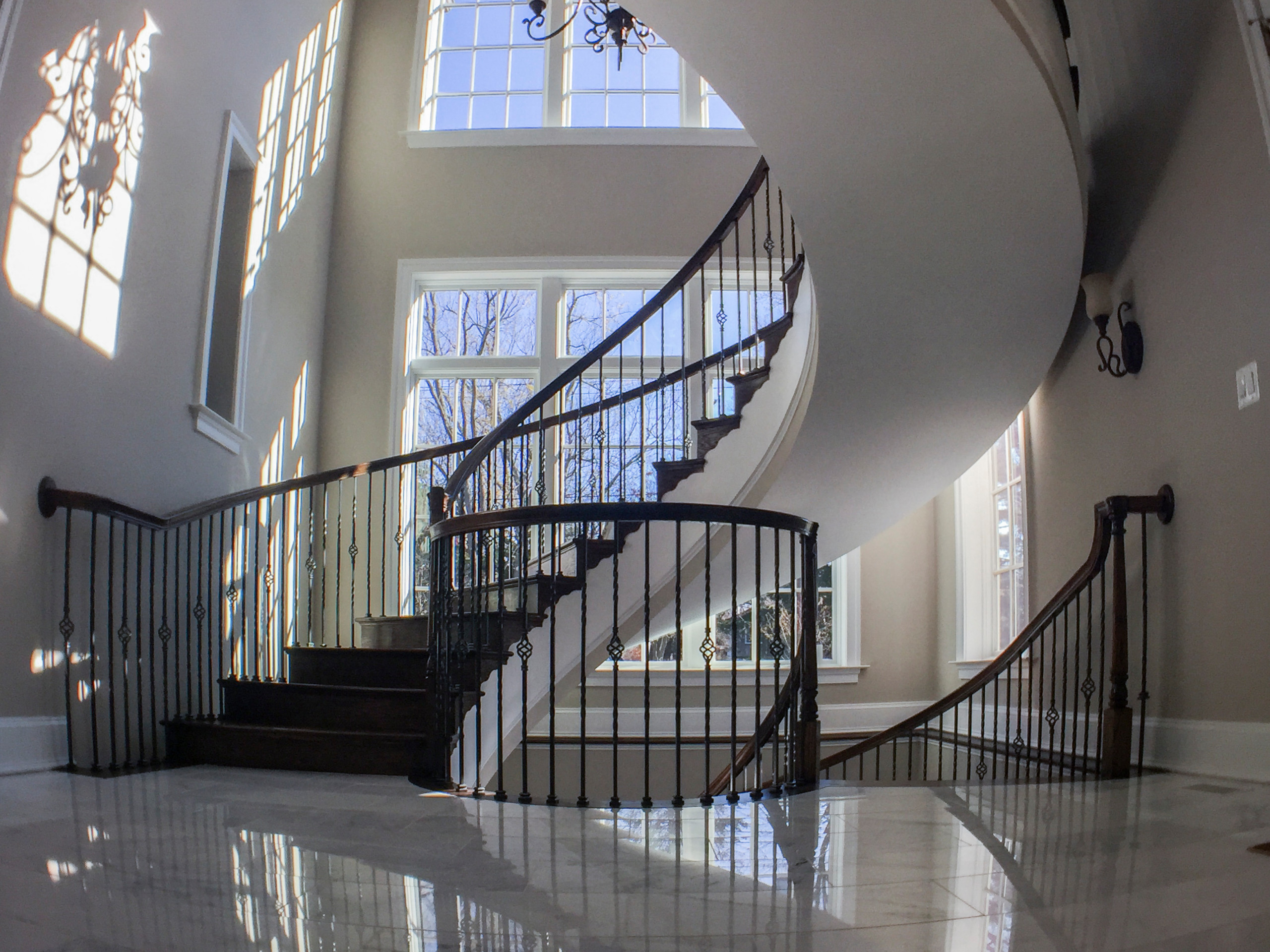 28_Multi-Level Oak&Metal Staircase in Custom Built Home, Potomac Falls MD 20854