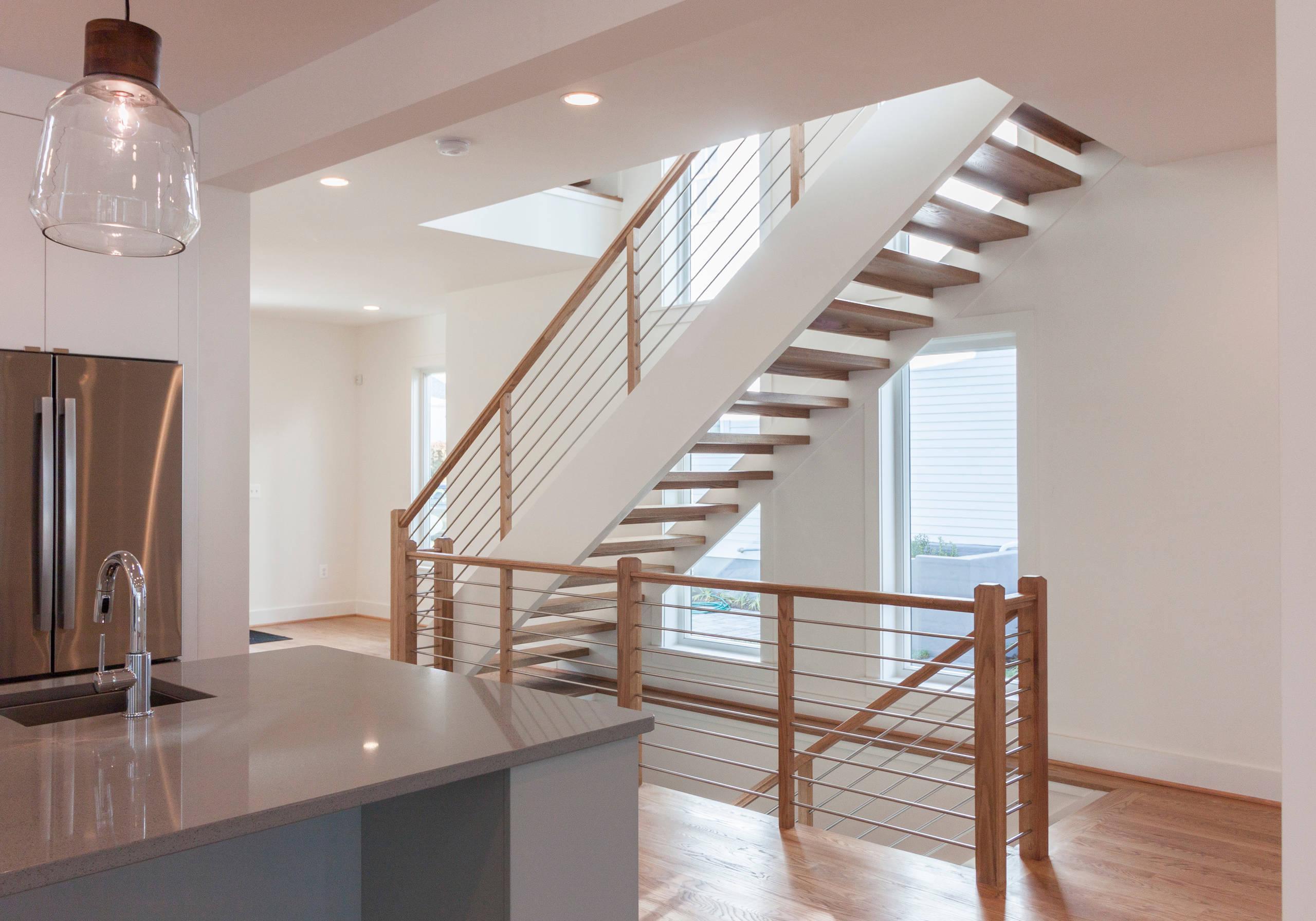 48_Contemporary Round Stainless Steel Balustrade & Oak Treads, Arlington VA 2220