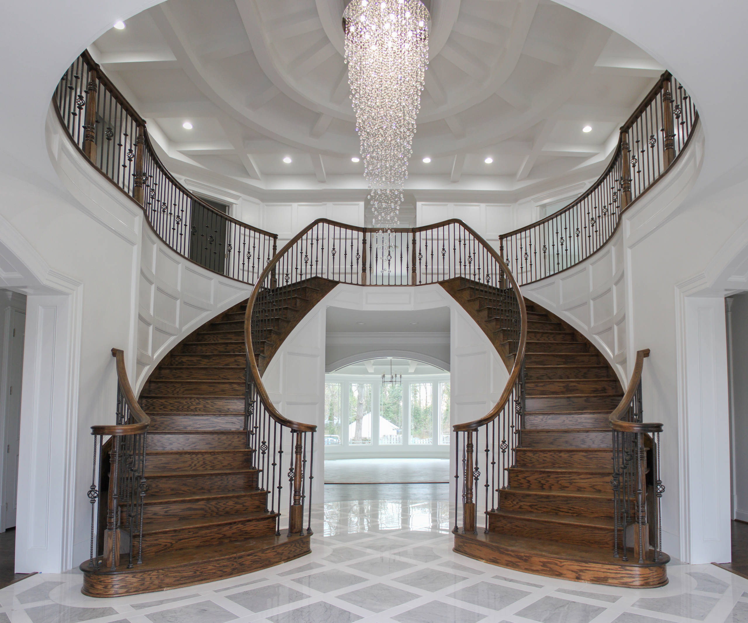 51_Elegant and Welcoming Twin Curved Staircase, Alexandria VA 22060