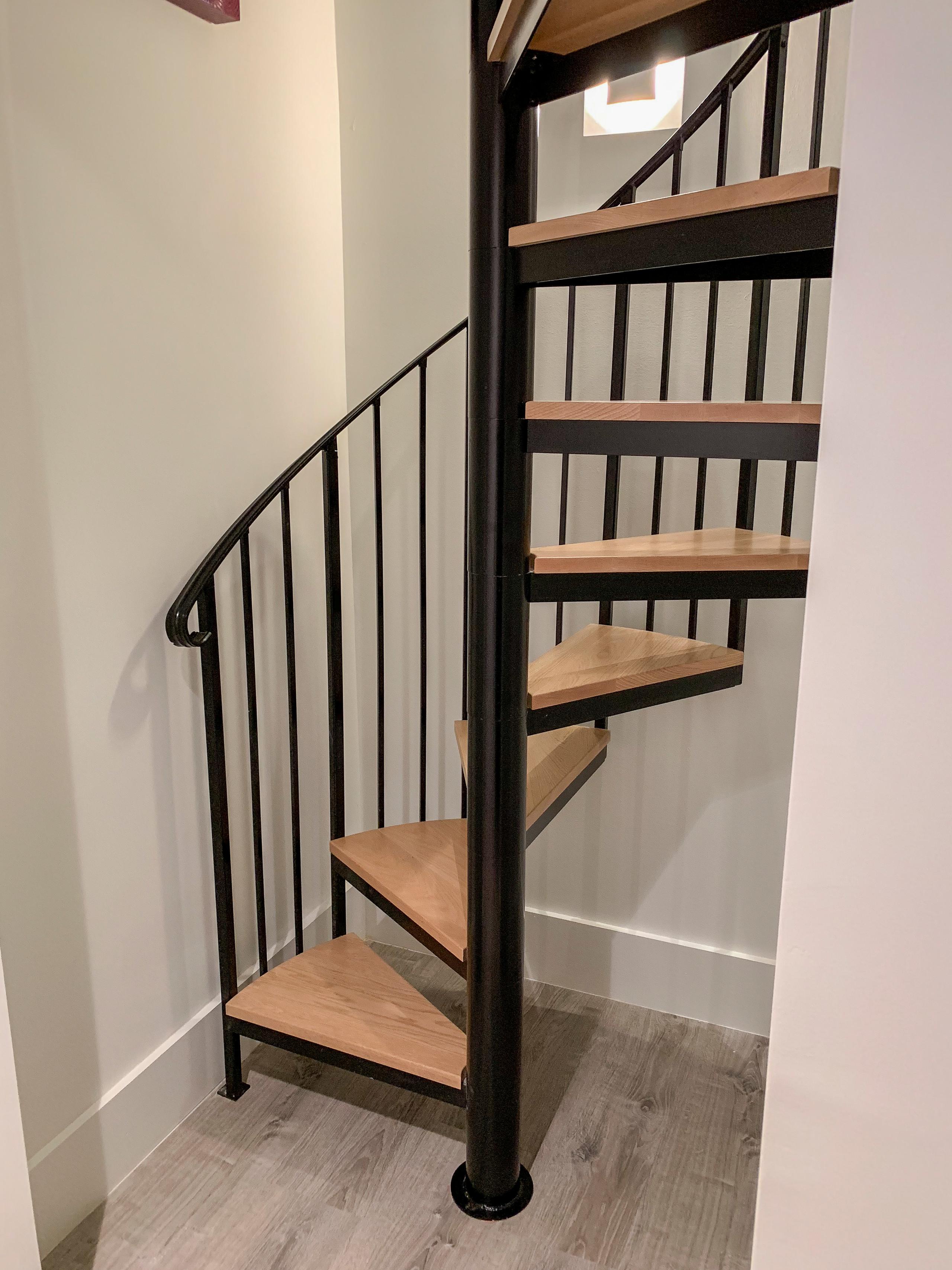 62_Natural Wood Treads & Jet-Black Metal Custom Spiral Stairway, Bethesda MD 208