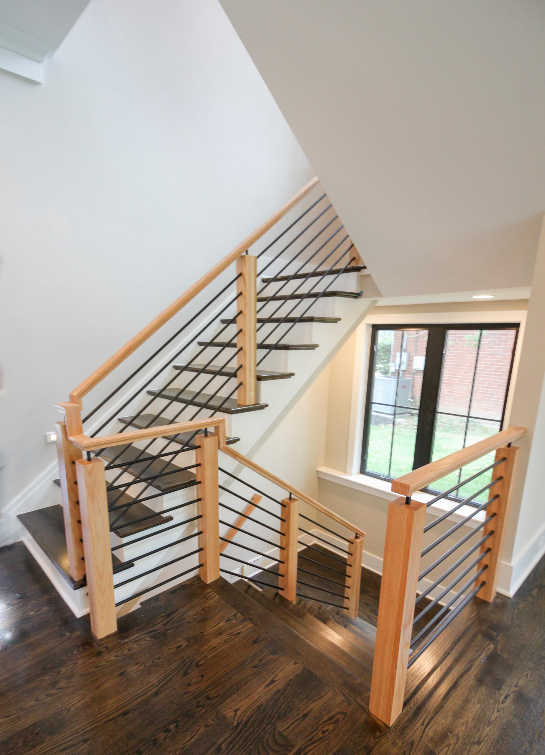 69_Stunning Natural Handrails & Newels + Horizontal Metal Rods, Bethesda MD 2081