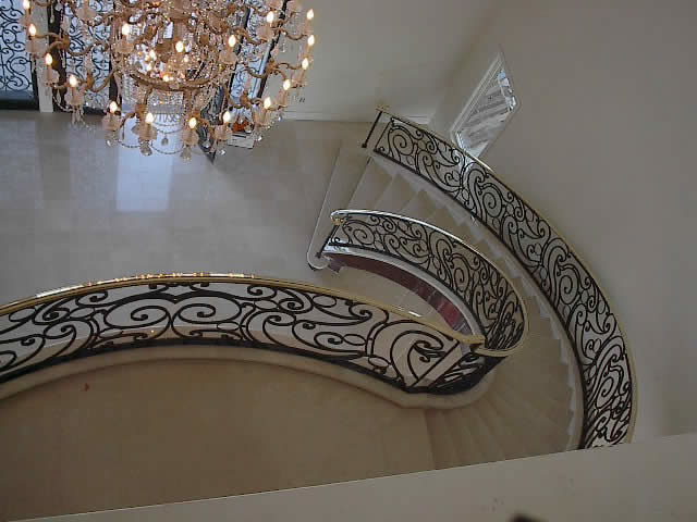 7_Curved Custom Iron Balustrade and Marble Foyer, Annandale 22003