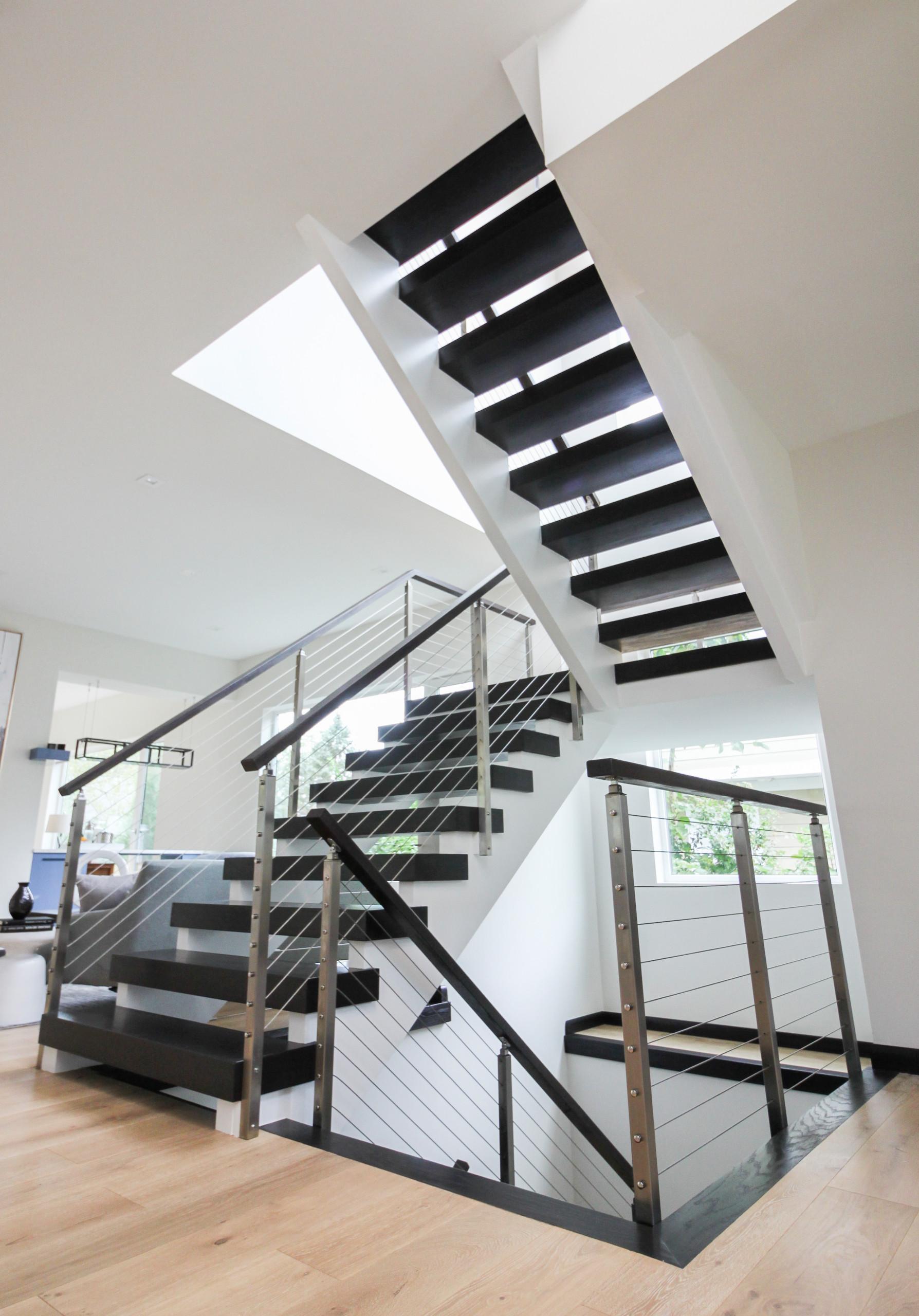 70_Contemporary Stairs With No Risers & Horizontal Railing, Vienna VA 22180
