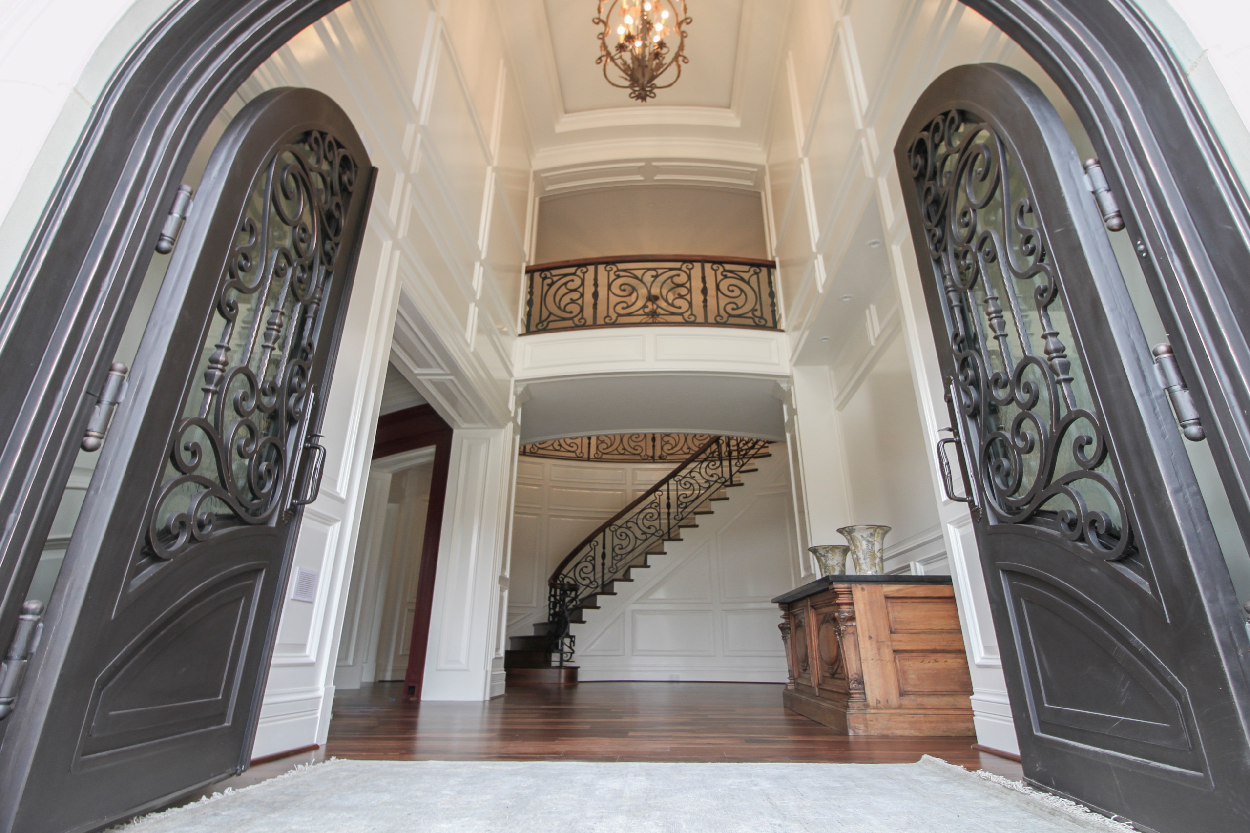 74_Exquisite Circular Stair with Metal Railing Panels, Highland MD 20777