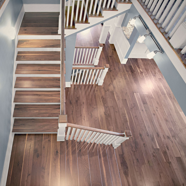 8 Character Black Walnut Plank Flooring Atlanta Craftsman Staircase