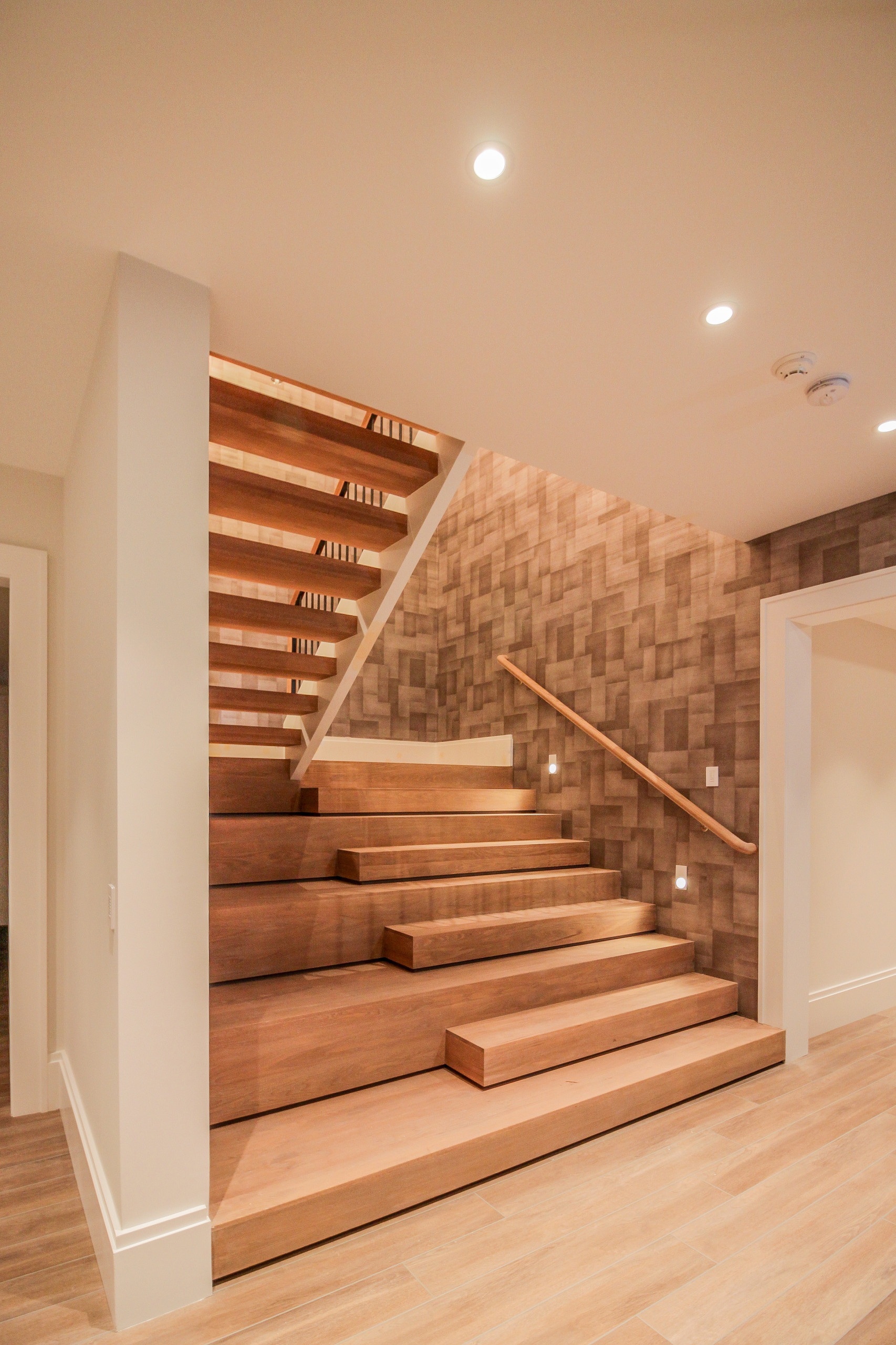 81_Modern Oak Steps with Raised Area for Seating, Great Falls VA 22066